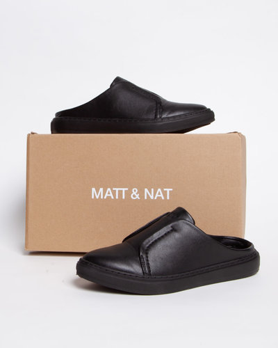 Black Vegan Leather Mules - MATT \u0026 NAT