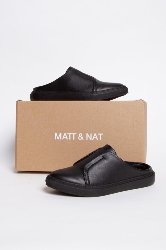 Matt & Nat Mules noires en cuir végane
