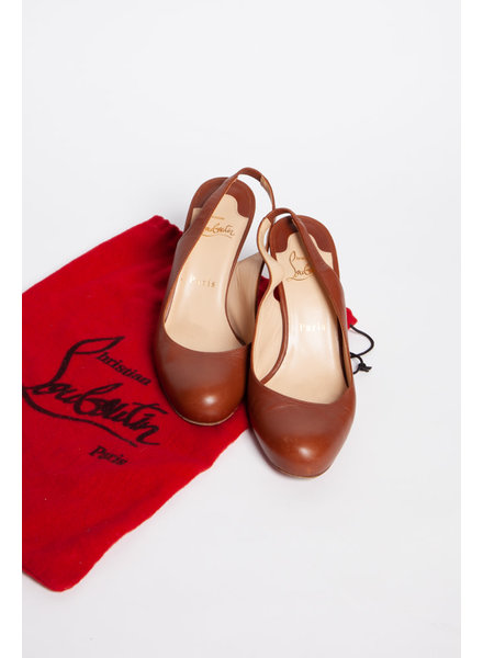 Christian Louboutin BROWN LEATHER SLINGBACK PUMPS