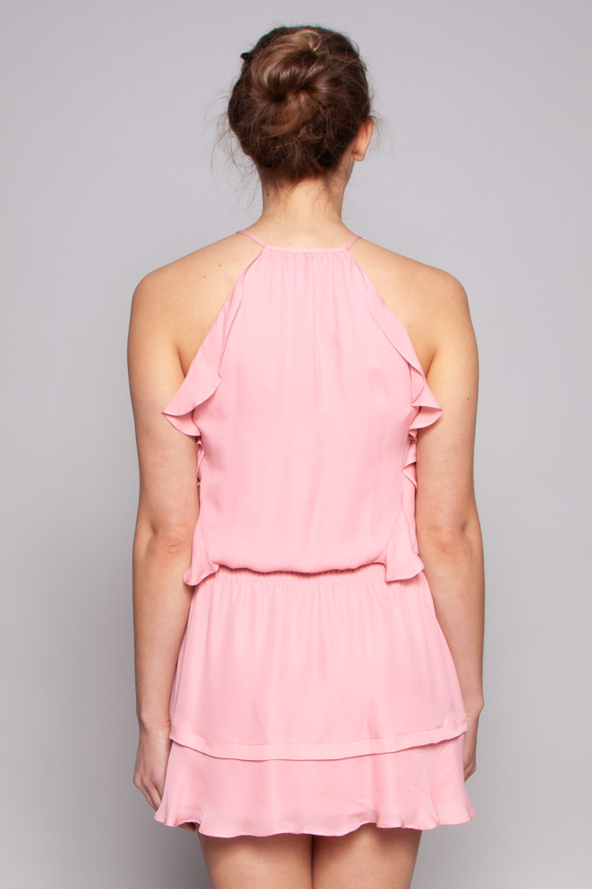 Parker NEW PRICE (WAS $120) - PINK RUFFLED SILK DRESS