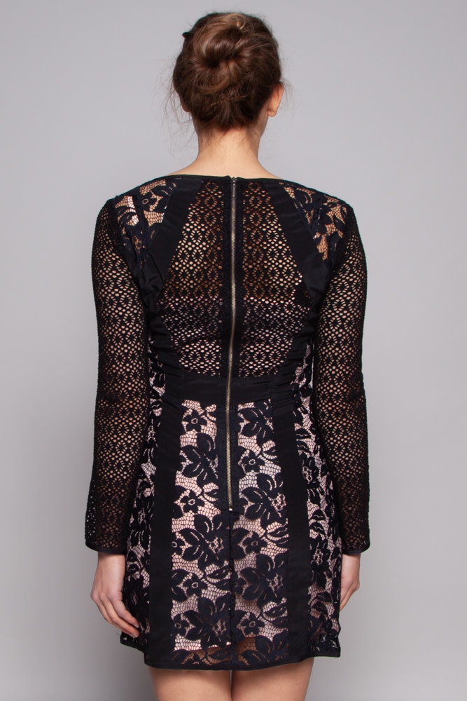 Nanette Lepore Black Lace Dress with Pink Slip Dress