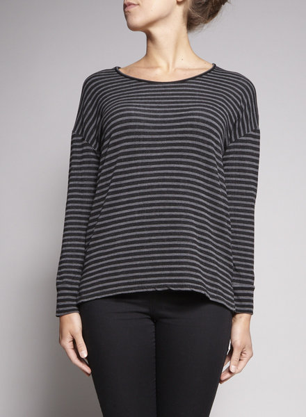 Majestic Filatures BLACK AND GREY STRIPPED SWEATER
