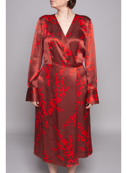 Equipment SALE (WAS 230$) - RED & BROWN FLORAL-PRINT SILK WRAP DRESS - NEW WITH TAGS