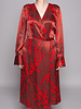 Equipment RED & BROWN FLORAL-PRINT SILK WRAP DRESS - NEW WITH TAGS