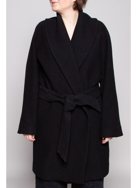 Club Monaco BLACK WOOL BELTED COAT