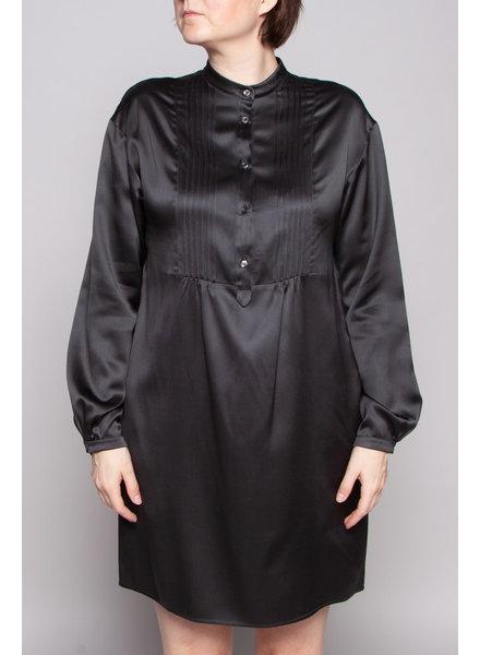 Piazza Sempione SALE (WAS $180) - BLACK MANDARIN COLLAR SILK DRESS