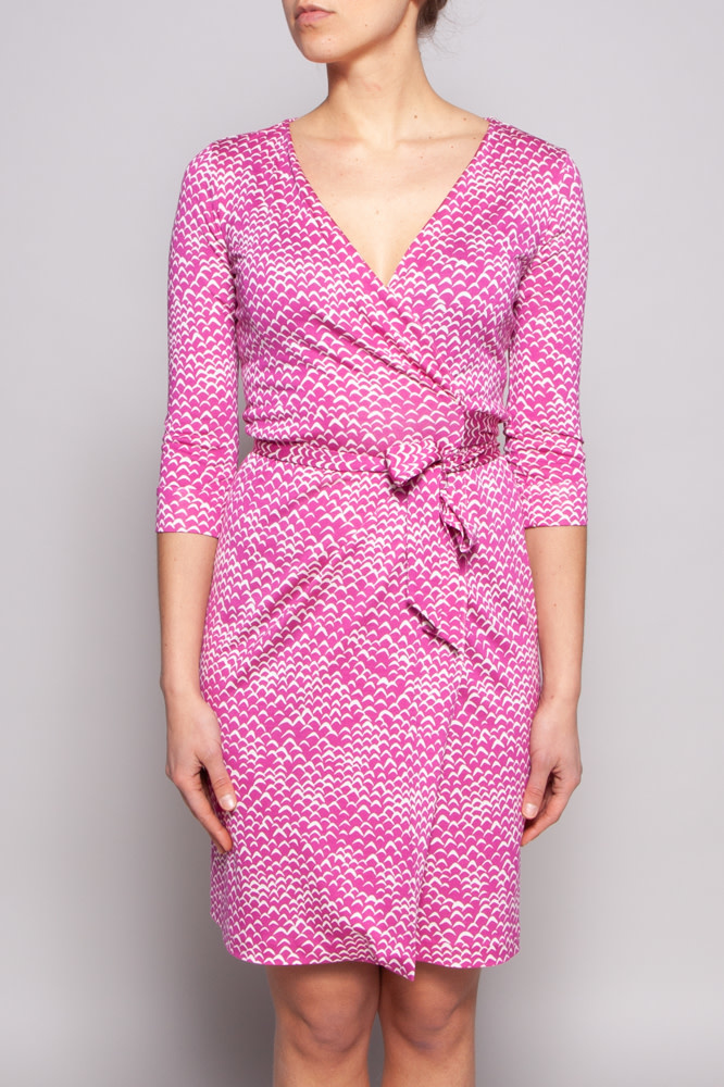 Diane von Furstenberg Pink Silk Wrap Dress