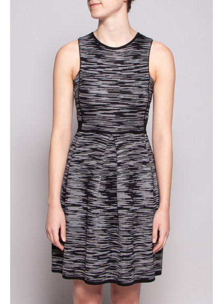 M Missoni BLACK DRESS WITH WHITE STRIPES