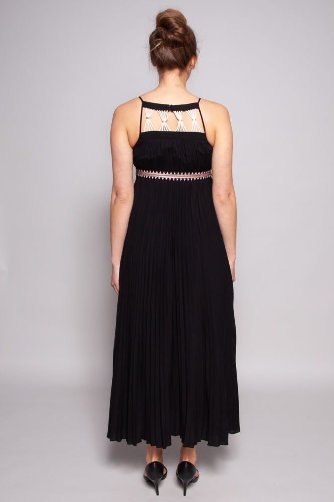 Rachel Zoe Black Accordion Dress with Embroidery