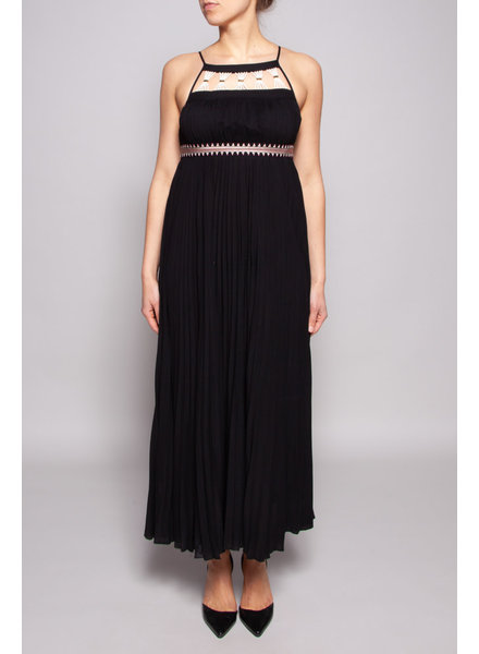 Rachel Zoe BLACK ACCORDION DRESS WITH EMBROIDERY
