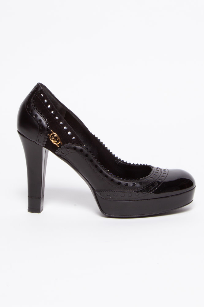 Gucci Perforated Black Leather Pumps