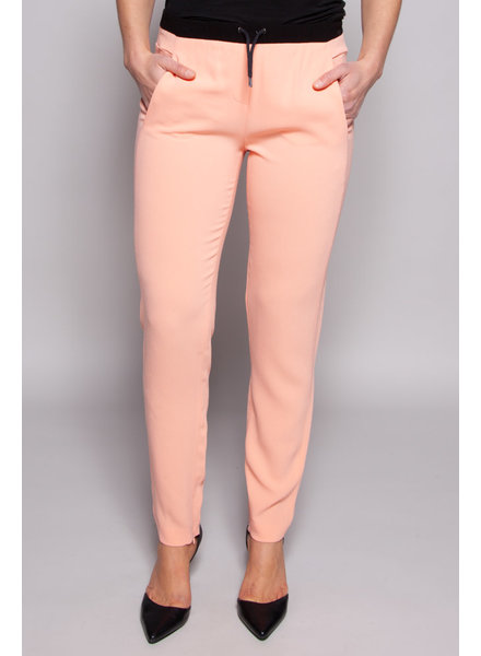 Maje PINK PANTS WITH BLACK ELASTIC WAIST