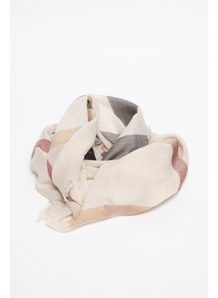Burberry BEIGE SILK & WOOL MONOGRAM SCARF