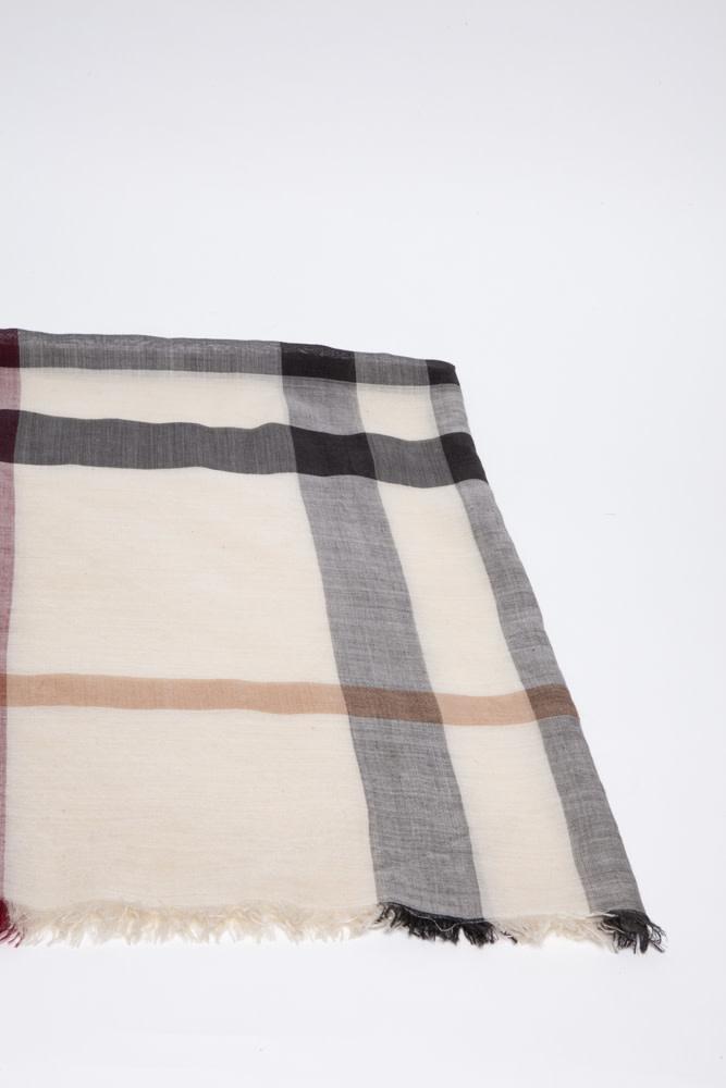 Burberry Beige Silk & Wool Monogram Scarf
