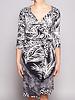 Diane von Furstenberg Robe portefeuille en soie noir et blanc