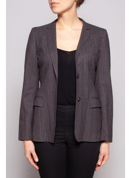 MaxMara GREY & PINK STRIPED BLAZER WITH FAUX LEATHER BELT