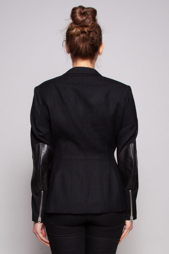 Junya Watanabe Comme des Garçons Veston noir en laine avec coudes en cuir