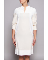 Amelia Toro OFF-WHITE & CREAM WOOL, HEMP & SILK DRESS