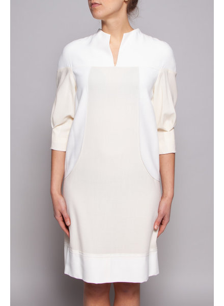 Amelia Toro OFF-WHITE & CREAM WOOL, HEMP & SILK DRESS