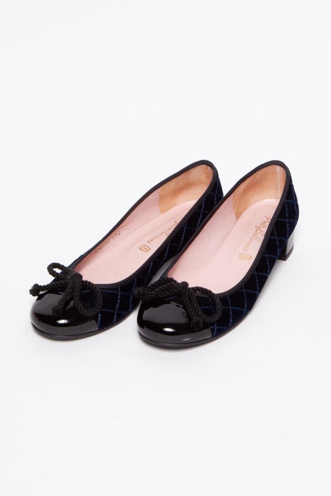 Pretty Ballerinas Dark Blue Velvet Ballerinas