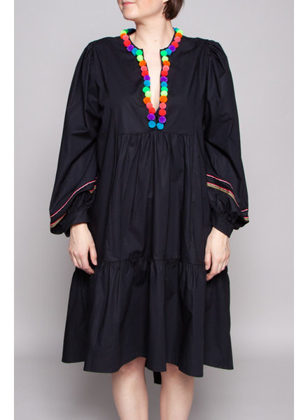 Pitusa BLACK EMBROIDERED DRESS WITH TASSELS - NEW (SAMPLE)