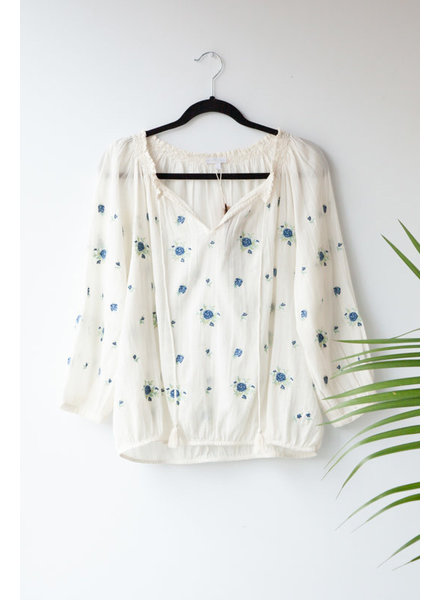 Star Mela WHITE EMBROIDERED BLOUSE - SAMPLE