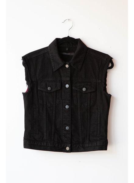 J Brand BLACK CROP SLIM VEST - SAMPLE