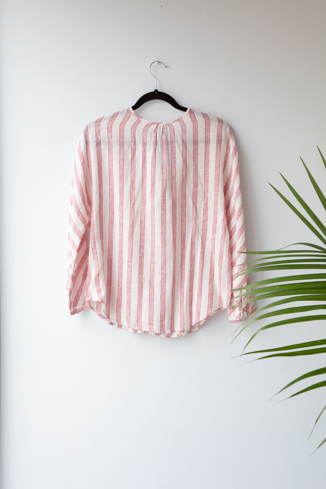 Rails RED STRIPED LINEN BLOUSE - NEW WITH TAG (SAMPLE)