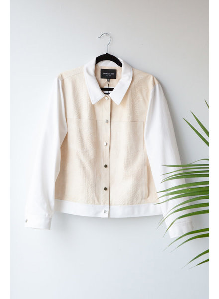 Lafayette 148 OFF-WHITE COTTON AND LEATHER JACKET WITH SNAKE PATTERN - NEW