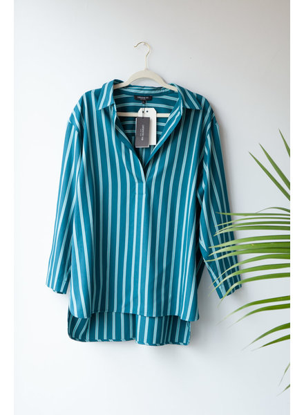 Lafayette 148 BLUE AND GREEN STRIPED BLOUSE - NEW WITH TAGS