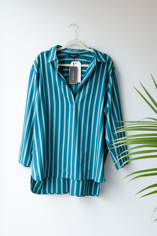 Lafayette 148 BLUE AND GREEN STRIPED BLOUSE - NEW