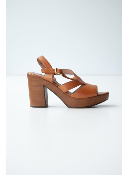 Wonders BROWN LEATHER HIGH HEEL SANDALS
