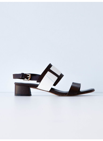 TOD'S BROWN LEATHER & WHITE VINYL SANDALS