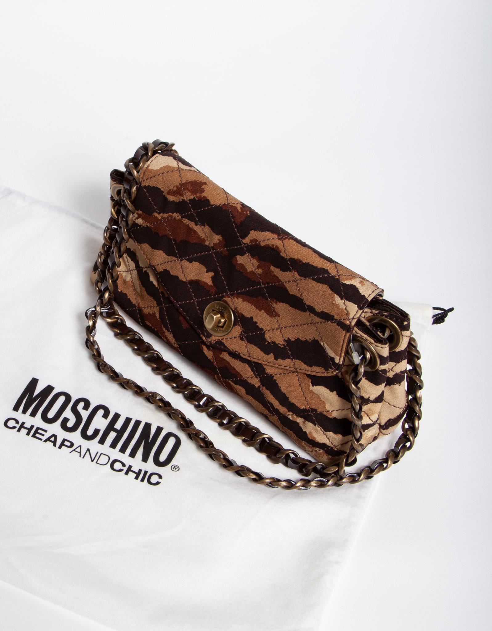 Moschino Cheap and Chic SAC À MAIN MARRON À IMPRIMÉ CAMOUFLAGE - AVEC ÉTIQUETTE