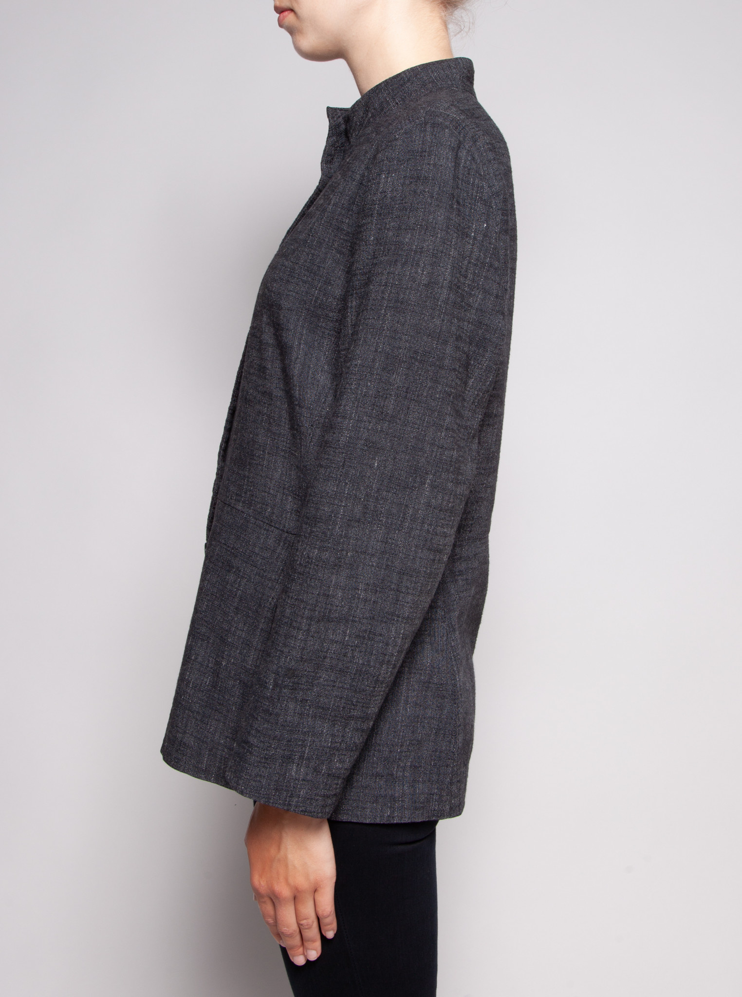 Eileen Fisher CHEMISIER CHINÉ CHARCOAL À COL MAO