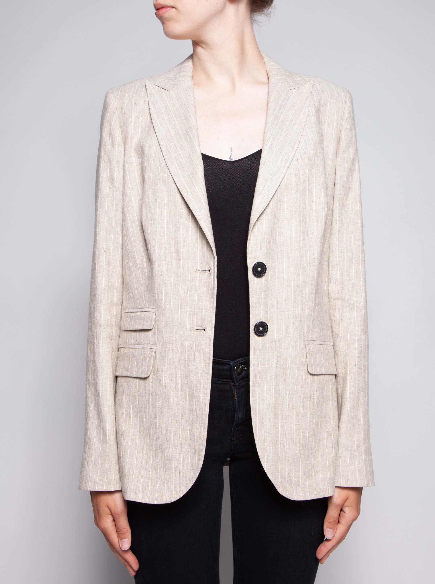 Façonnable BEIGE AND WHITE STRIPED BLAZER - NEW
