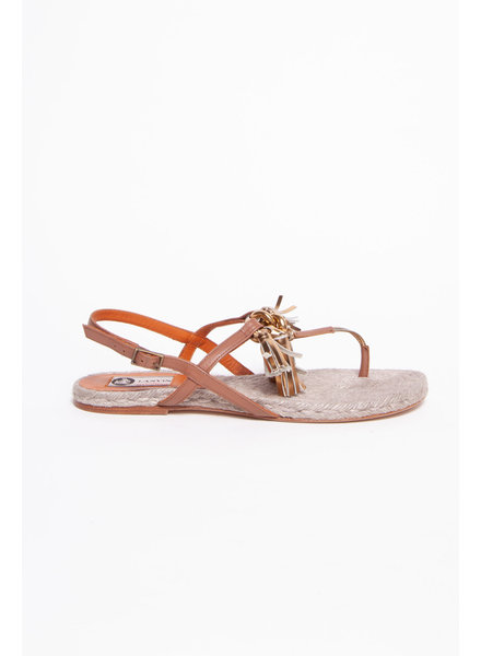 Lanvin BROWN AND GOLD ROPE SANDALS