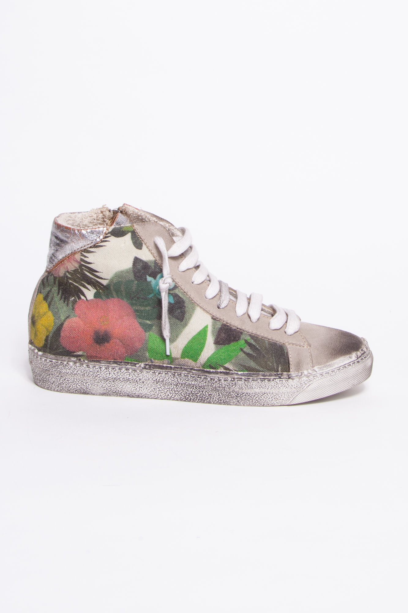 P448 HIGH TOP FLORAL SNEAKERS WITH WORN EFFECT - P448