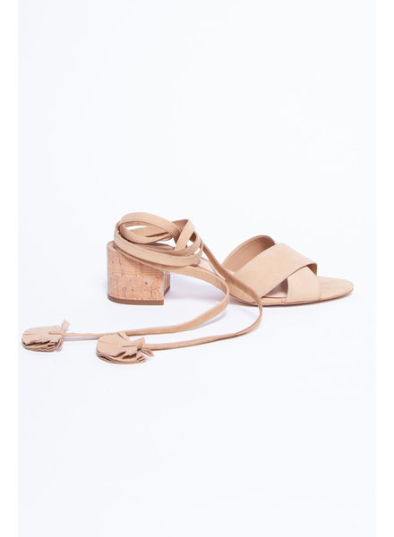 Brian Atwood BEIGE LACED SUEDE SANDALS