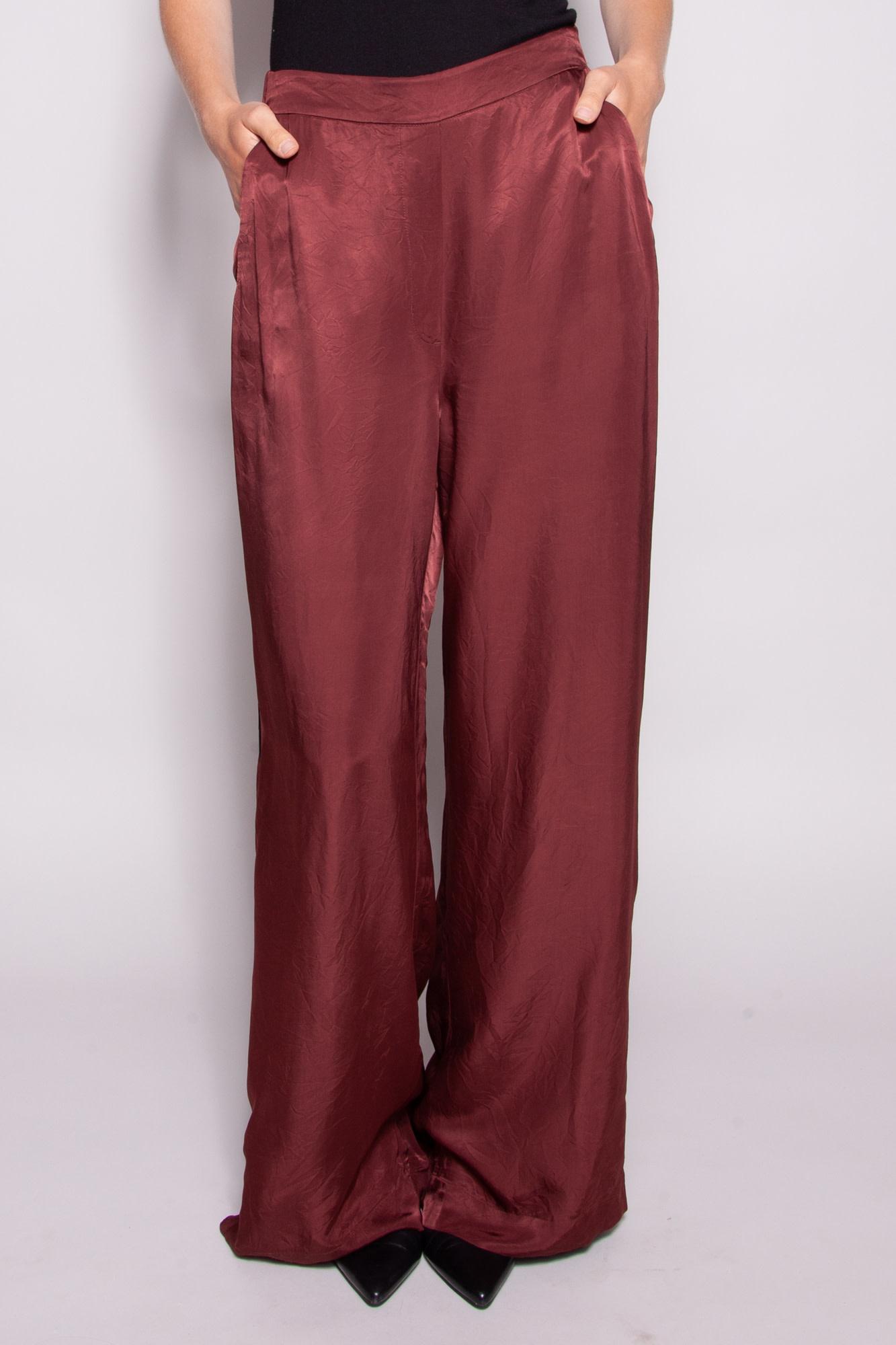 Wilfred BURGUNDY SATIN WIDE LEGS PANTS