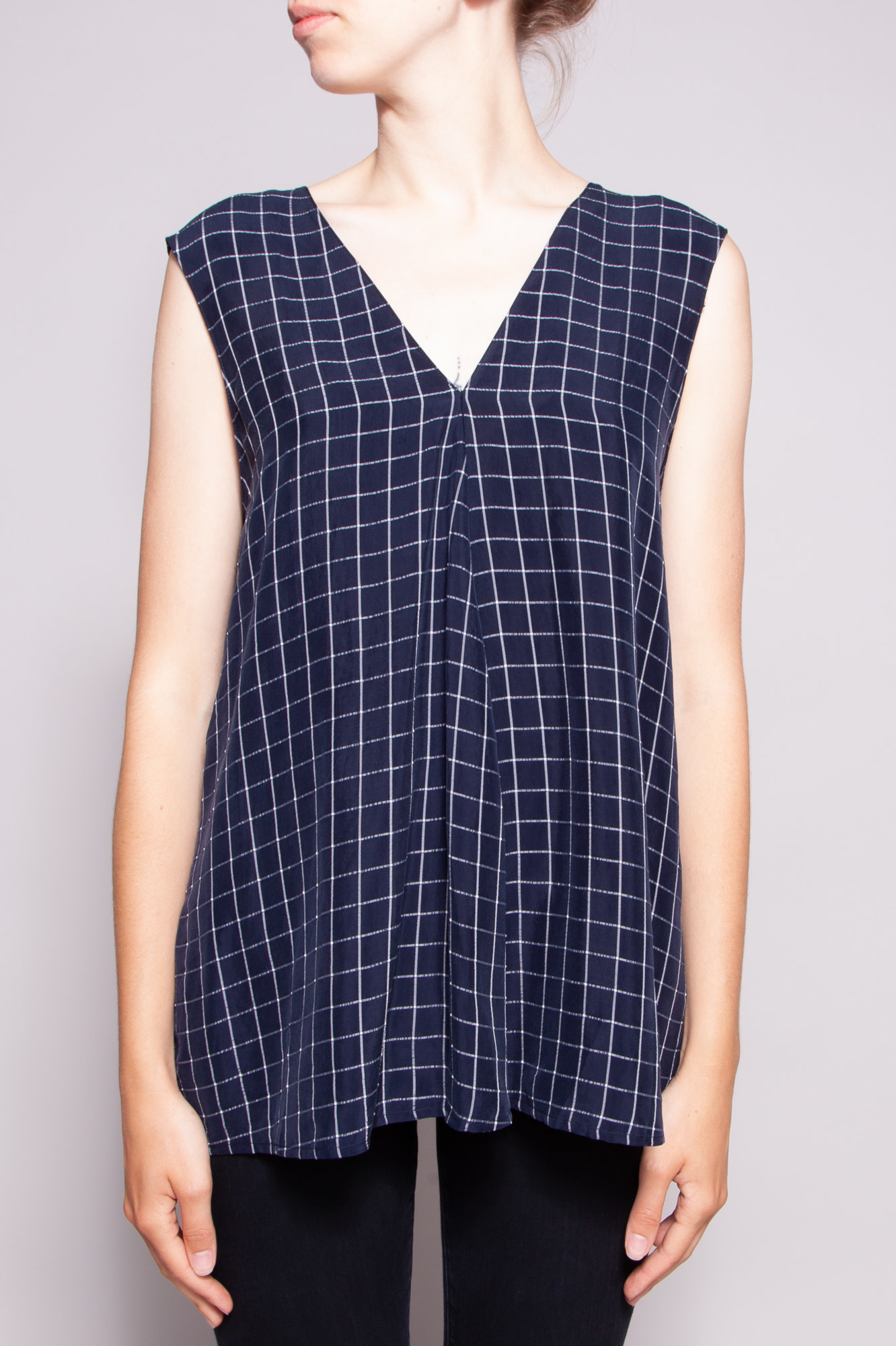 Theory BLUE CHECK SLEEVELESS TOP - NEW