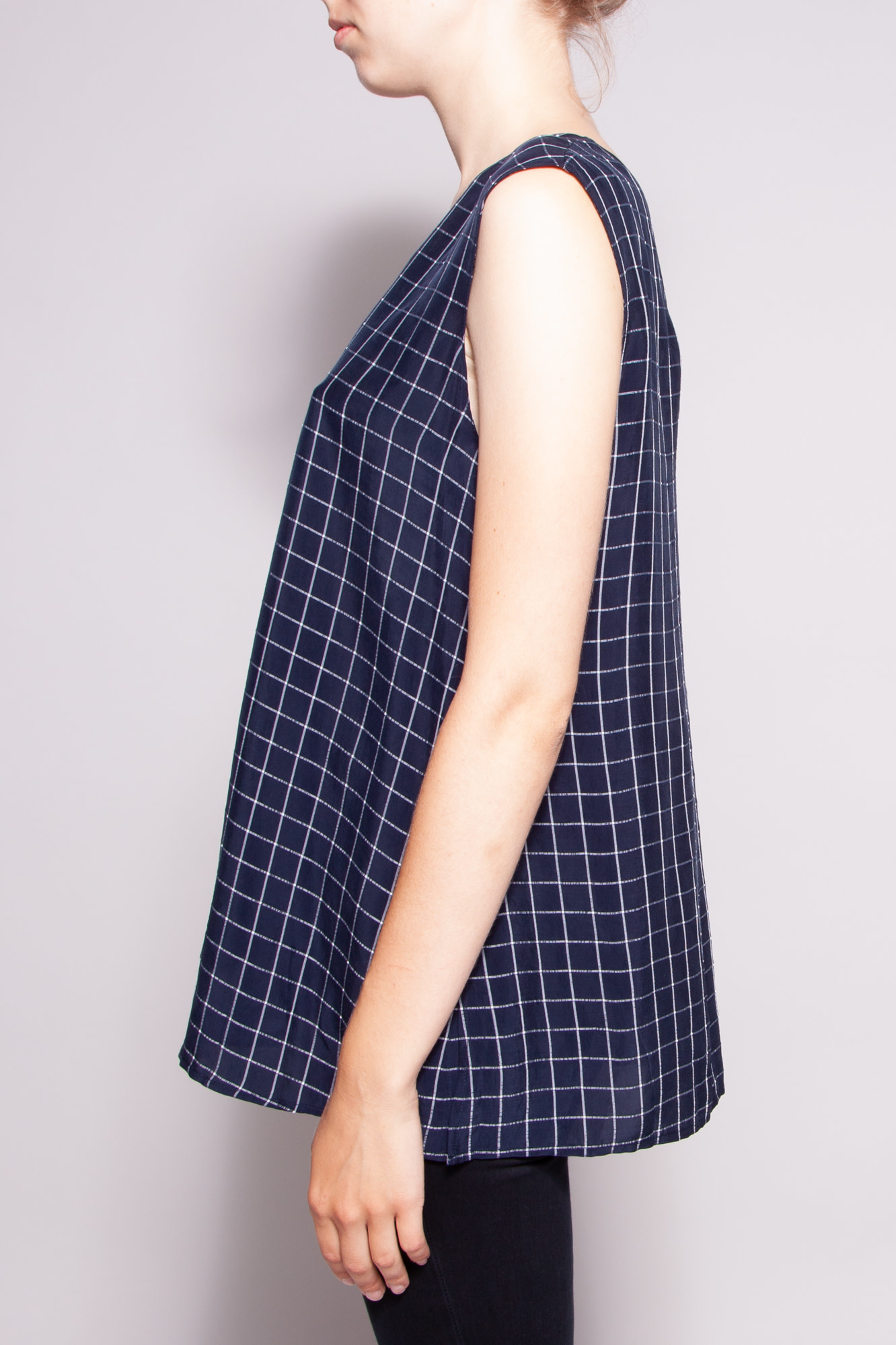 Theory NEW PRICE (WAS $110) - BLUE CHECK SLEEVELESS TOP - NEW