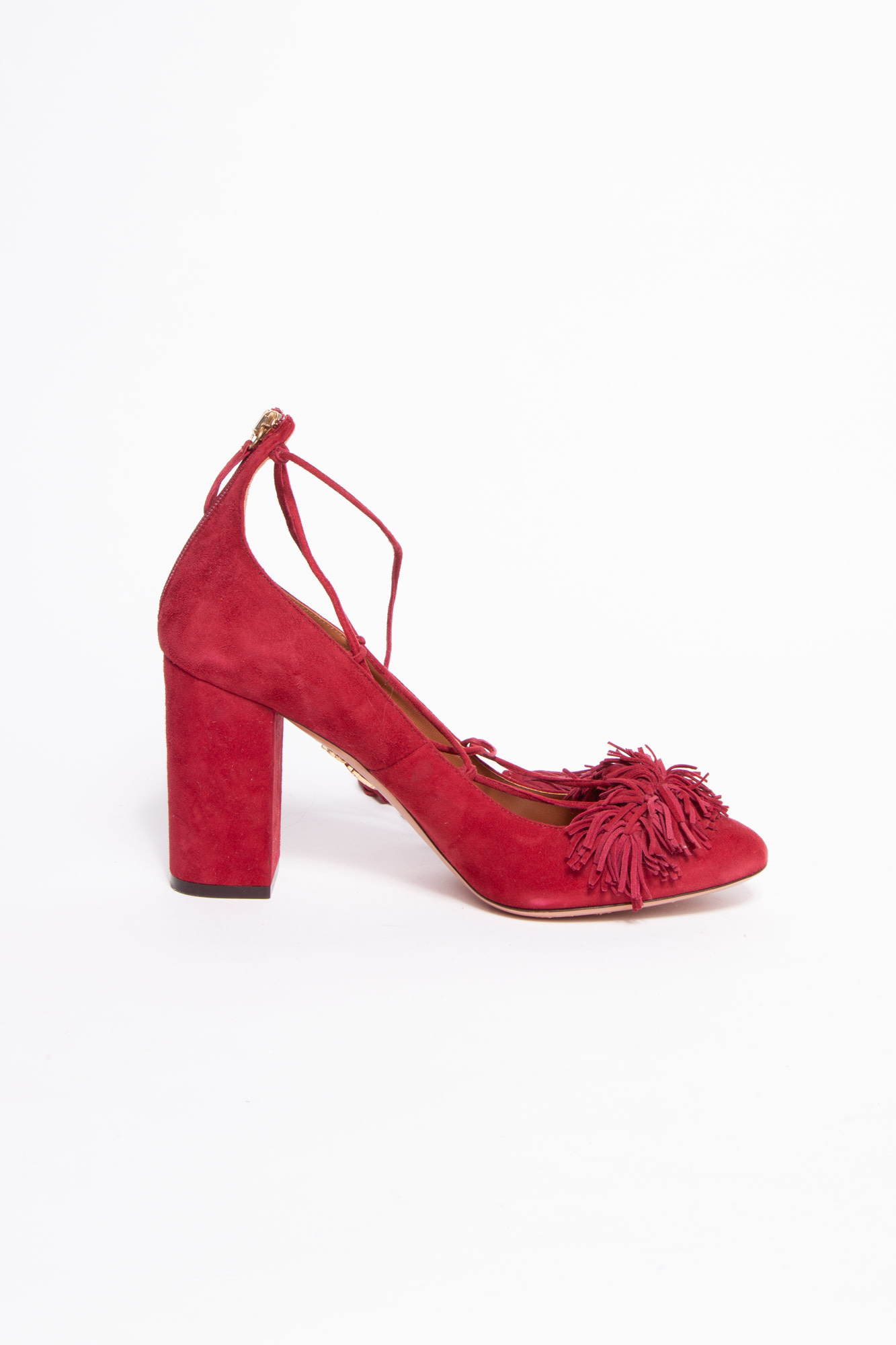 Aquazzura  RED SUEDE HEELED SHOES