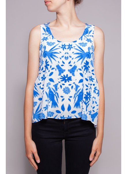 Joie WHITE SILK TOP WITH BLUE FLOWERS