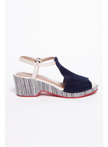 Beautifeel FINE STRIPED SANDALS WITH RED SOLE