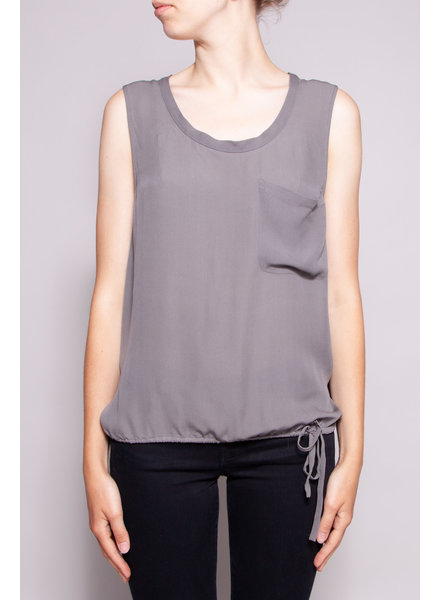 Theory GRAY SILK TOP WITH BELT AT THE WAIST