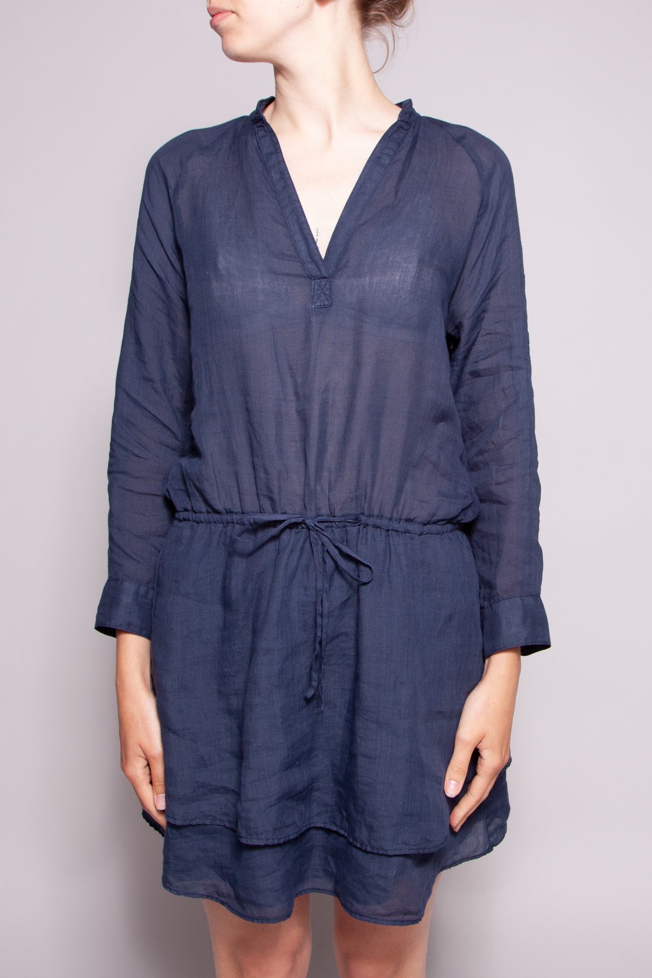 Theory SHEER DARK BLUE RAMIE DRESS TUNIC