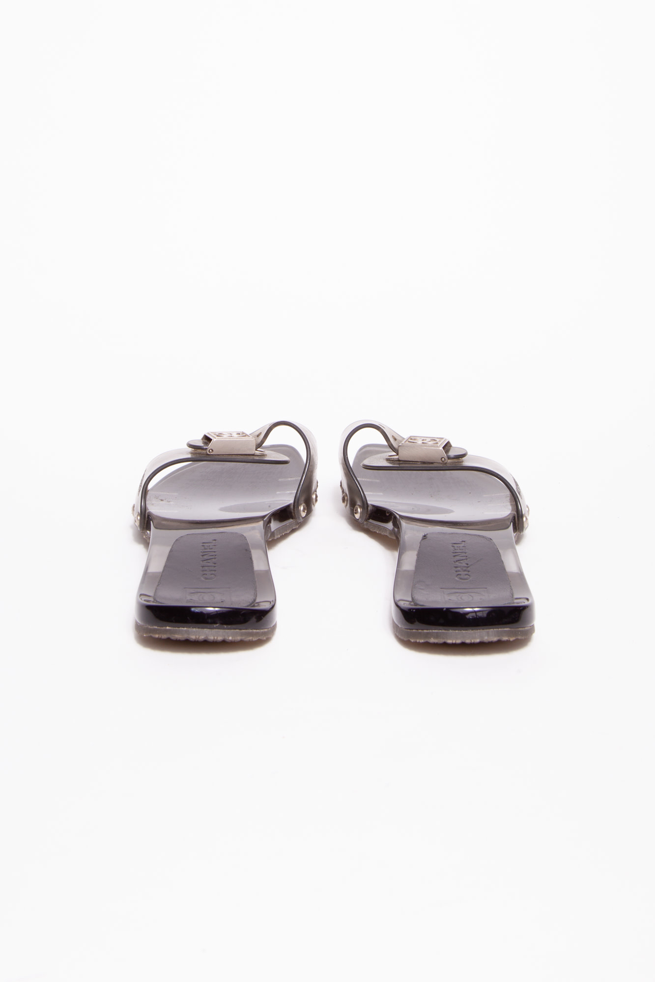 Chanel CHARCOAL TINTED SANDALS