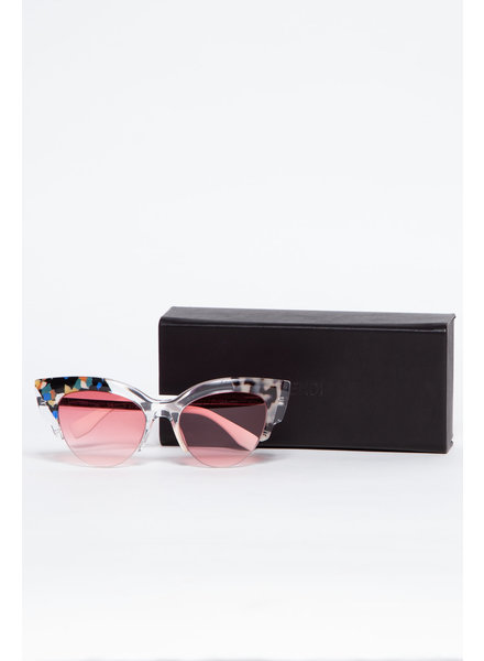 Fendi CAT EYE SUNGLASSES WITH PINK TINTED GLASS AND COLORED DETAILS