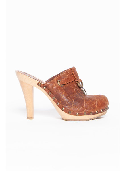 Dior BROWN LEATHER HEELED MULES